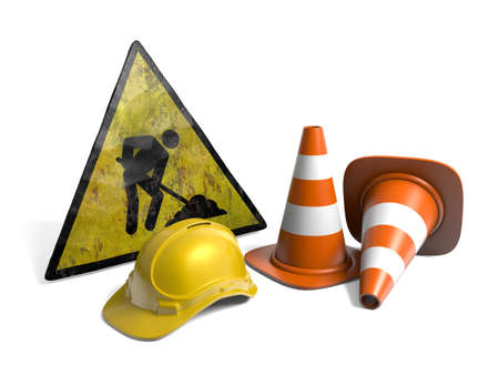Very high resolution 3d rendering of two traffic cones, an hard hat, a road sign over white.