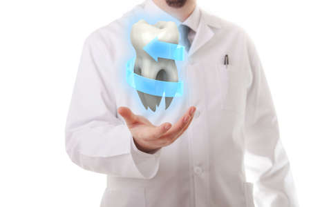fluoride: Male doctor showing a molar tooth Stock Photo