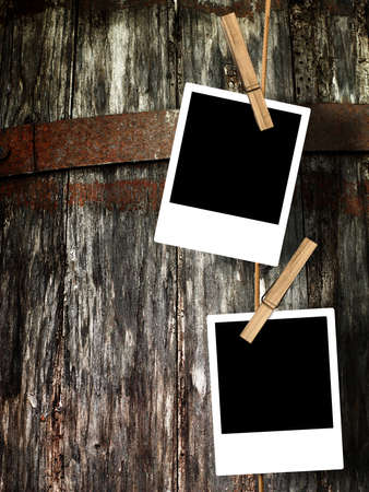Four photos attached to a stringe with a defocused background  photo