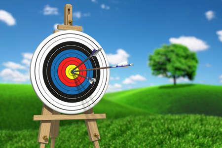 Très haute résolution illustratione de trois flèches sur une cible de tir à l'arc Banque d'images - 26671552
