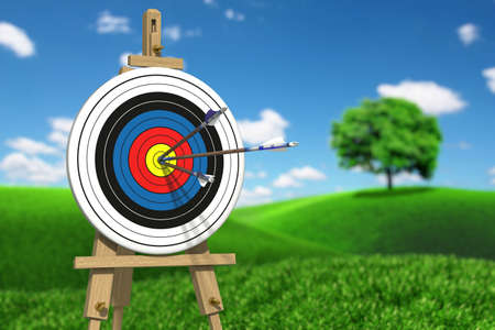 Very high resolution illustratione of three arrows on an archery target 版權商用圖片