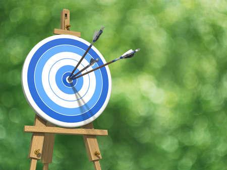 アーチェリー ターゲット上の 3 つの矢の超高分解能 illustratione 写真素材