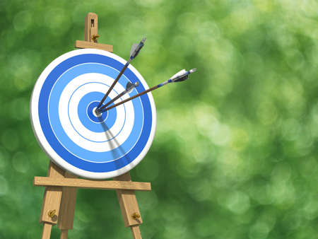 Very high resolution illustratione of three arrows on an archery target illustration