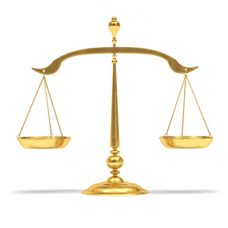 justice hammer: Very high resolution 3d rendering of a gold scales  Stock Photo