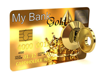 chip and pin: Very high resolution 3d rendering of a credit card on the wheels