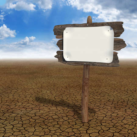 high desert: Very high resolution 3D rendering of an old wood board in the desert
