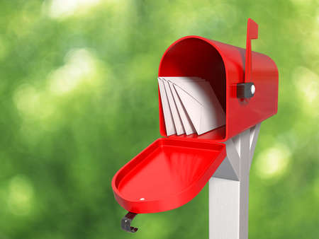 Very high resolution 3D rendering of an open mailbox with some letters inside  photo