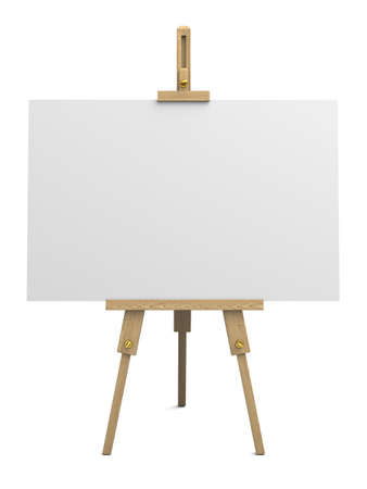Very high resolution 3d rendering of a wooden easel with empty canvans isolated over white