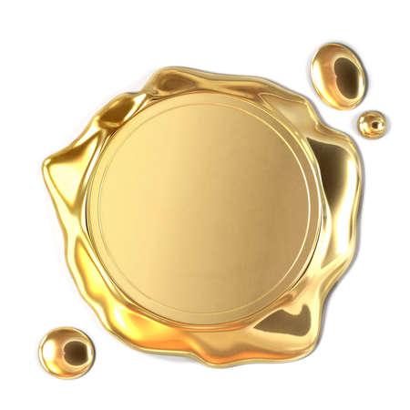 Très haute résolution de rendu 3D d'un cachet de cire d'or