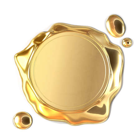 Very high resolution 3d rendering of a golden wax seal