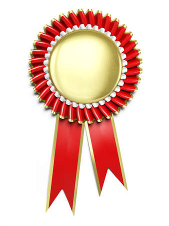 Very high resolution 3d rendering of an award rosette over white photo