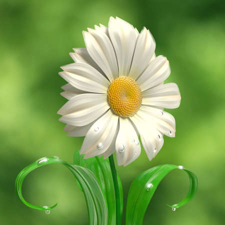 High resolution 3D rendering of a daisy smiling  photo