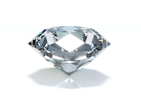 Very high resolution 3d rendering of a big diamond on a white plane