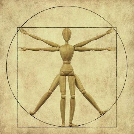 uomo vitruviano: Ad alta risoluzione 3D rendering di un manichino di legno che rappresenta l'uomo vitruviano