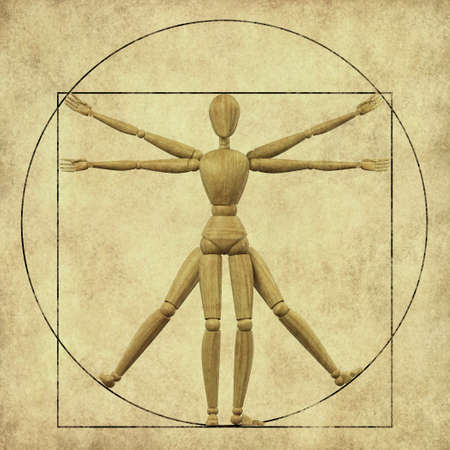 High resolution 3d rendering of a wooden mannequin representing the vitruvian man  photo