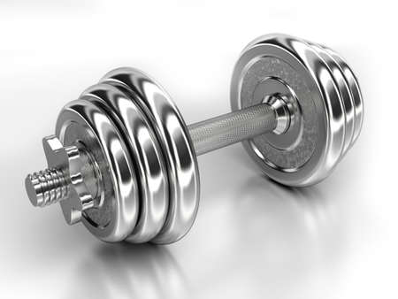 discs: Very high resolution 3d rendering of a shiny dumbbell isolated over white