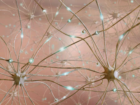 Very high resolution 3d rendering representing the connection between neurons  Stock Photo