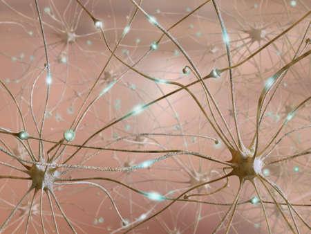Zeer hoge resolutie 3D-rendering vertegenwoordigen de verbinding tussen neuronen
