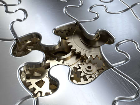 Very high resolution rendering of a puzzle with gear wheels Stock Photo