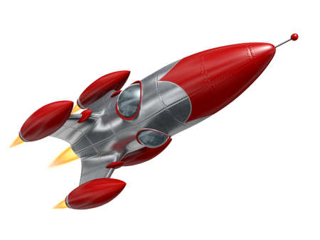 Very high resolution 3d rendering of a cartoon-style space rocketship