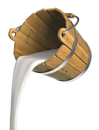 Very high resolution 3d rendering of a bucket pouring milk Standard-Bild