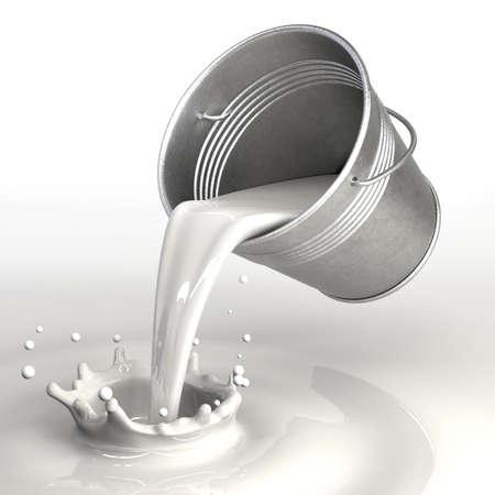 milk drop: Very high resolution 3d rendering of a bucket pouring milk