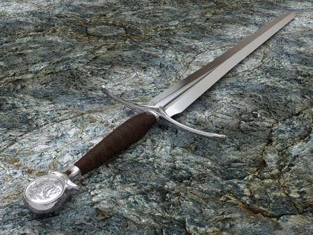 Très haute résolution de rendu 3D d'une épée sur une pierre Banque d'images - 26671626