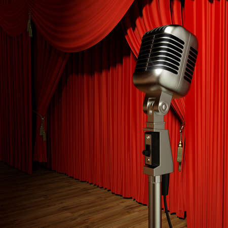 Very high resolution 3d rendering of red stage theater drapes and a microphone