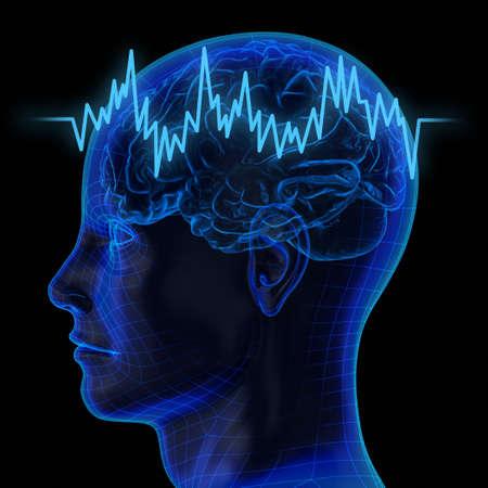 Zeer hoge resolutie 3D-weergave van een menselijk brein Stockfoto