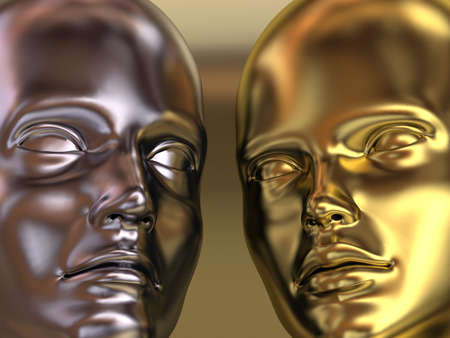 Very high resolution 3d rendering of a golden woman and a silver man head