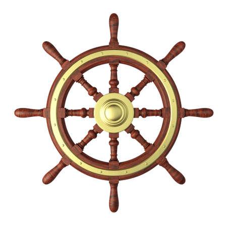 흰색에 고립 된 배를 스티어링 휠의 매우 높은 해상도 3d 렌더링 스톡 콘텐츠