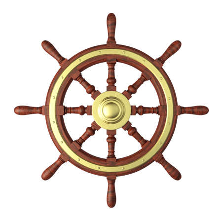 captain ship: Very high resolution 3d rendering of a boat steering wheel isolated on white