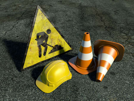 Very high resolution 3d rendering of two traffic cones, an hard hat, a road sign over white