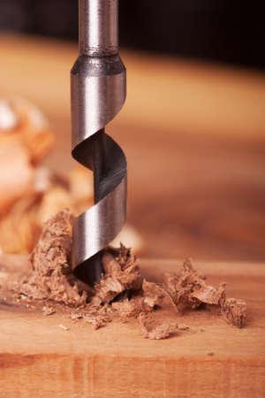 Auger bit drilling wood