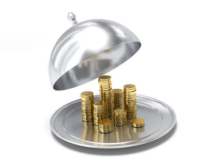Very high resolution 3d rendering of a cloche full of money