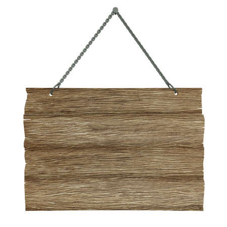 cartel: Very high resolution 3D rendering of an old wooden billboard isolated over white