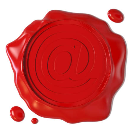 Very high resolution 3d rendering of a wax seal with e-mail stamp photo