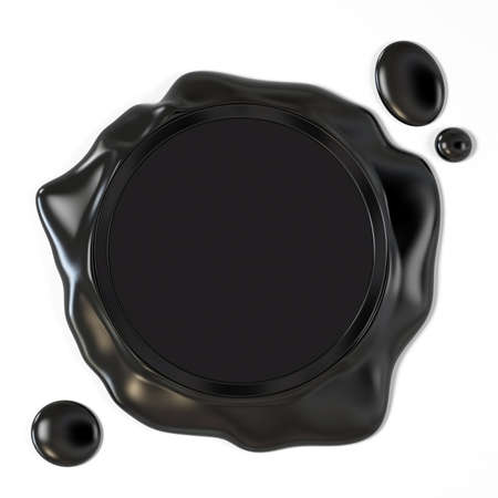 Very high resolution 3d rendering of a black wax seal