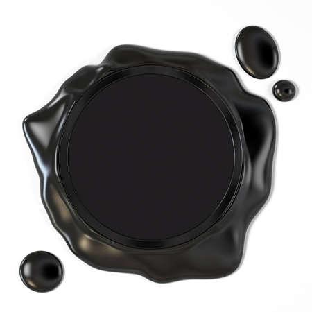 Zeer hoge resolutie 3D-weergave van een zwarte lakzegel