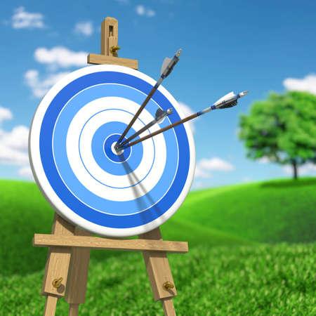 Very high resolution illustratione of three arrows on an archery target Zdjęcie Seryjne