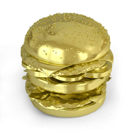 Very high resolution 3d rendering of a big golden  hamburger  photo