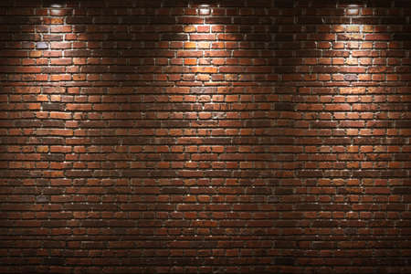 illuminated wall: Illuminated brick wall Stock Photo