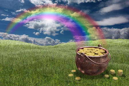 Very high resolution rendering of a pot of gold photo