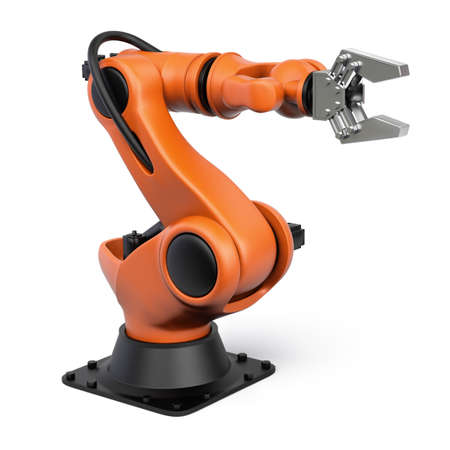 Very high resolution 3d rendering of an industrial robot.