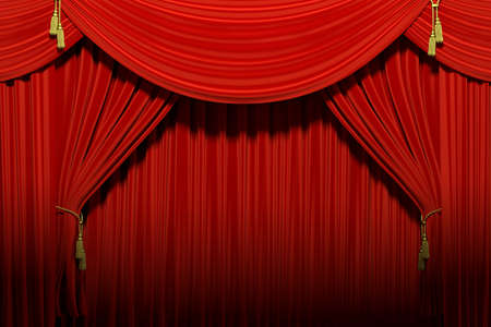 Very high resolution 3d rendering of red stage theater velvet drapes Stock Photo
