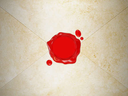 wax stamp: Very high resolution 3d rendering of a red wax seal on a letter