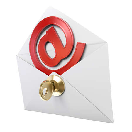 Very high resolution 3d rendering of a envelope with a metal email symbol inside. photo