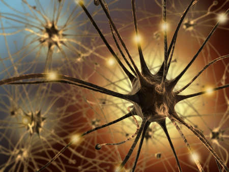 Very high resolution 3d rendering representing the connection between neurons. photo