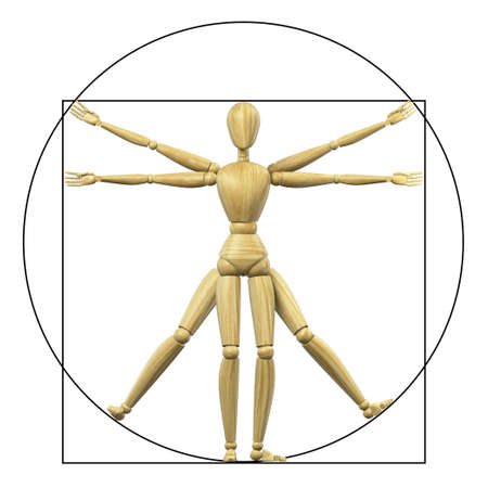 High resolution 3d rendering of a wooden mannequin representing the vitruvian man. photo