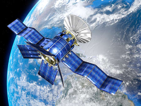 Very high resolution 3d rendering of a satellite in front of the earth  photo
